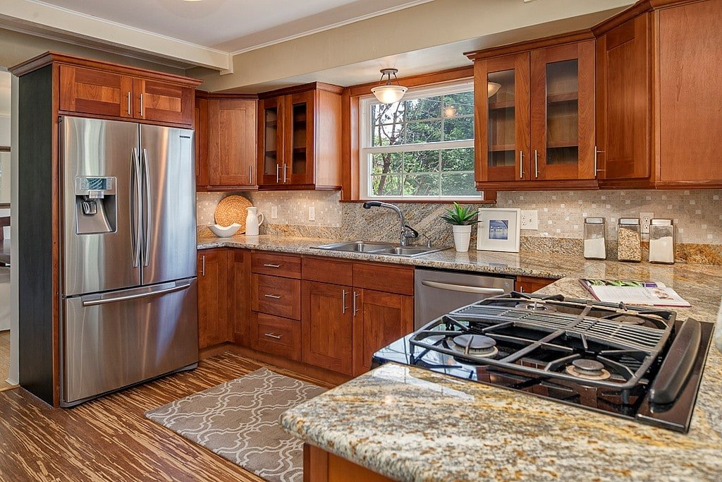 cherry shaker kitchen cabinets. Natural American Cherry Shaker. 🔍. Unlike Shaker Kitchen Cabinets