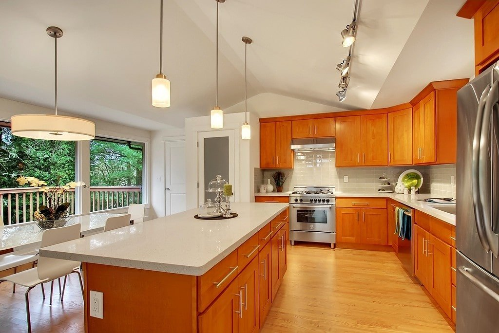 Honey Shaker (Parawood) - Pius Kitchen & Bath on Maple Cabinets With White Countertops  id=24934
