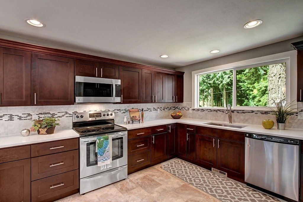 white quartz countertops with cherry cabinets espresso shaker maple pius kitchen amp bath 213