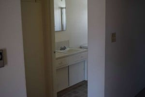 The dark, dated bathroom before remodel