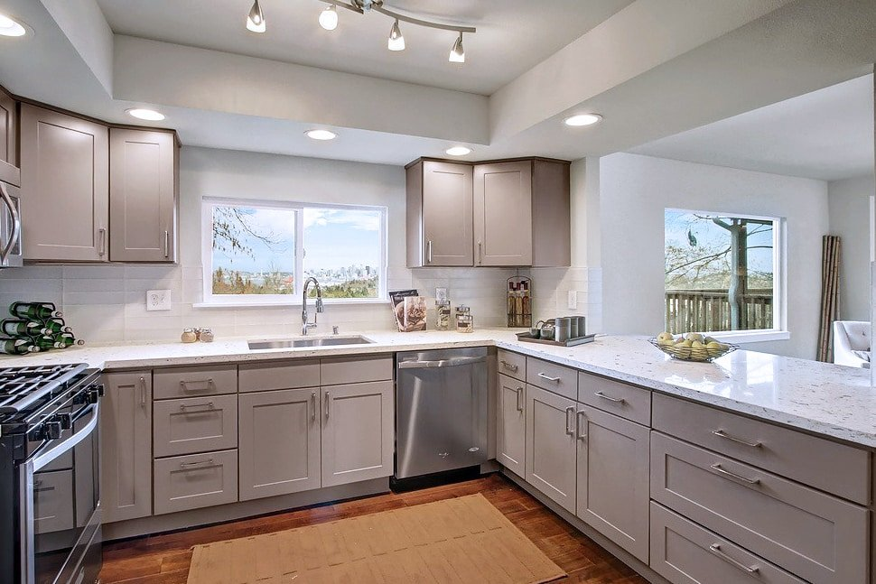 grey shaker maple pius kitchen amp bath maple amp gray traditional grey amp white shaker kitchen
