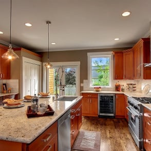 American Cherry Shaker with White Treasure Granite