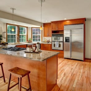 American Cherry Double Shaker Cabinets with Ivory Gold 3CM Granite